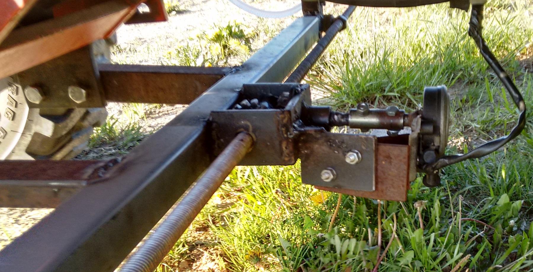 L'applicateur fixé sous le tracteur